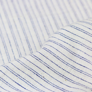 Pinstripe Handloom Khadi Cotton - Blue on White