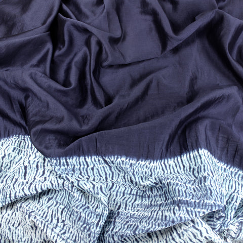 Deep Blue Waves 3-Yard Panel in Shibori Silk/Cotton