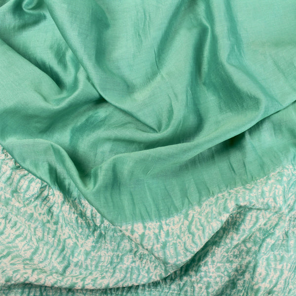 Turquoise Mokume Hand-Dyed Shibori Silk/Cotton Fabric