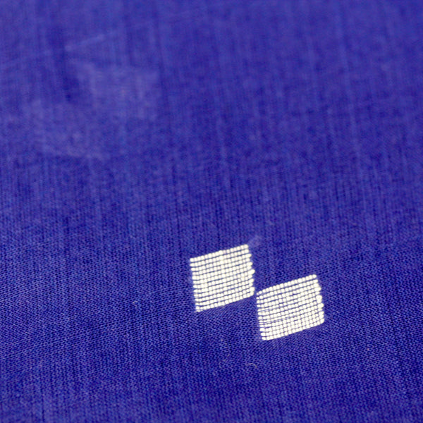 Navy and White Handloom Jamdani Cotton Fabric