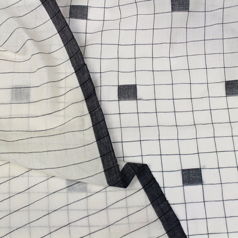 Handloom Cubes Jamdani Cotton Black and White Fabric
