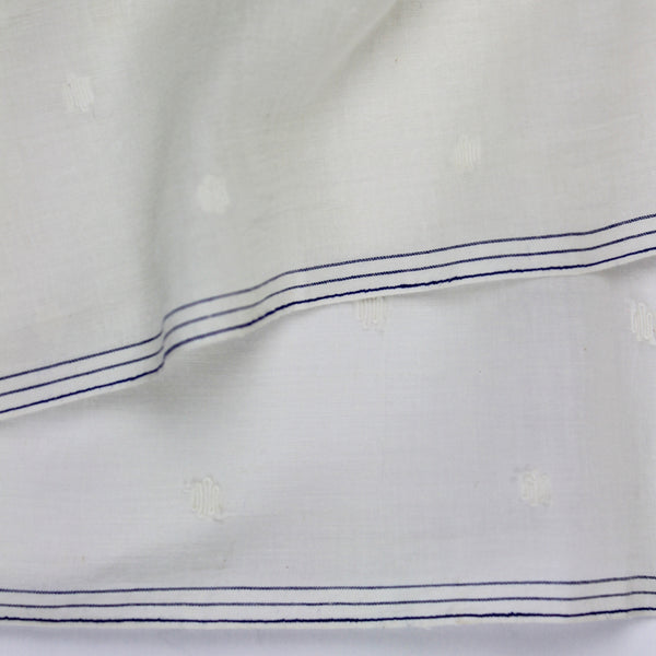Ivory Dots Border Handwoven Jamdani Cotton Fabric