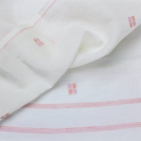 Pink Squares Handloom Cotton Jamdani Fabric