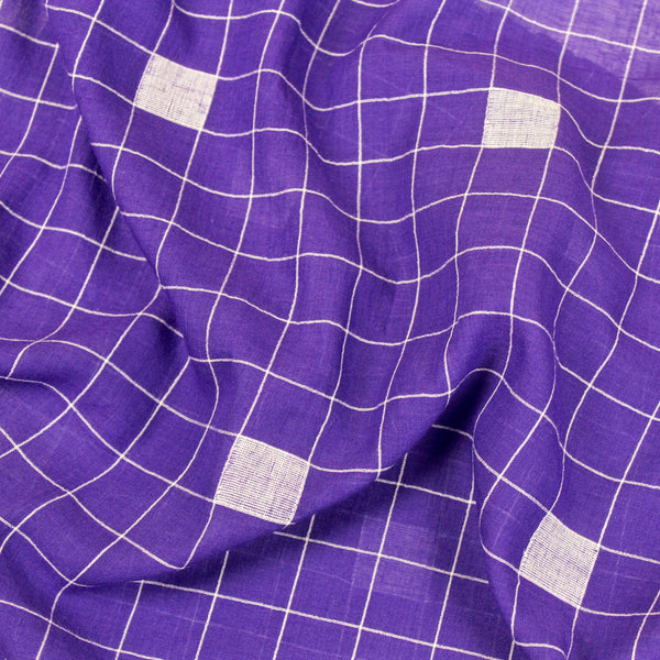 Purple Cubes Handwoven Jamdani Cotton Fabric