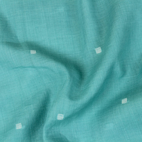 Turquoise Handwoven Jamdani Cotton Fabric