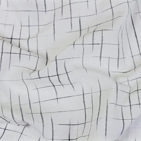 Disappearing Check Handloom Cotton - White with Black