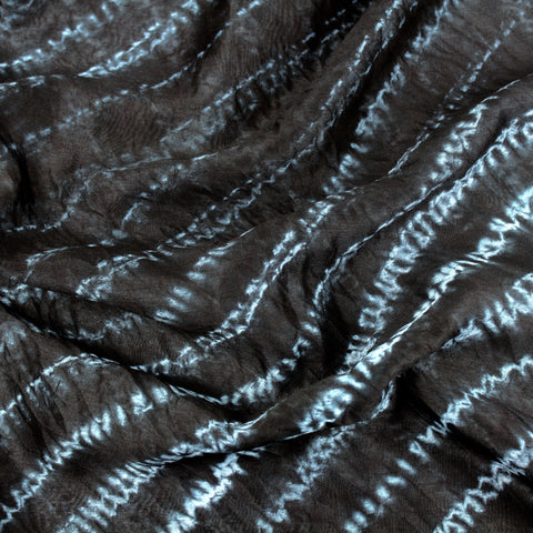 Black Hand-dyed Shibori Silk and Cotton Fabric