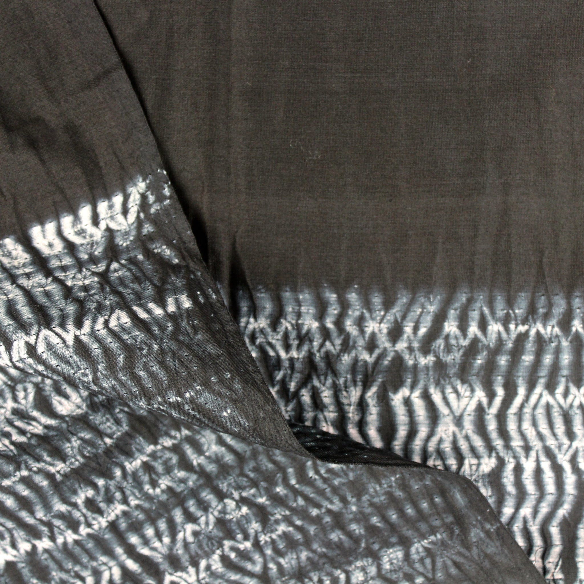 Black Waves 3-Yard Panel in Shibori Silk/Cotton