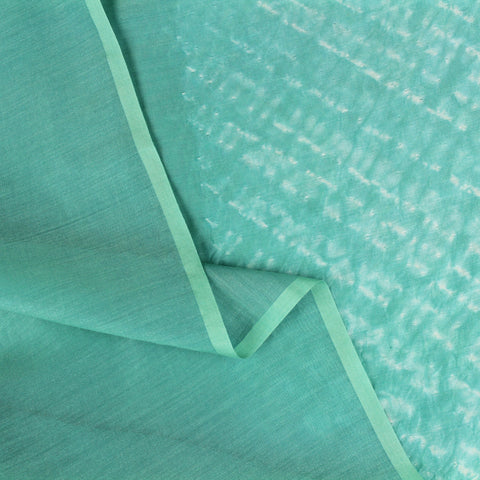 Turquoise Stripes Shibori Silk and Cotton Fabric