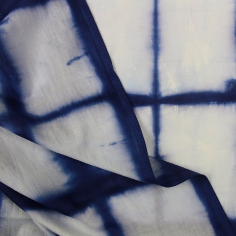 Blue Squares Indigo Shibori Cotton Fabric