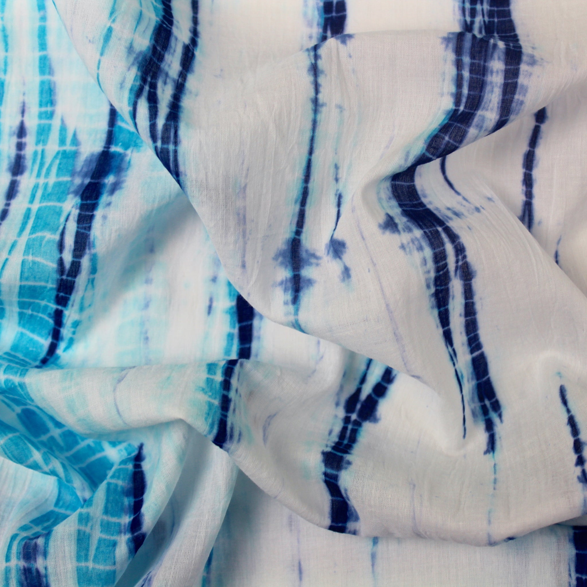 Blue and Turquoise Indigo Cotton Shibori Fabric