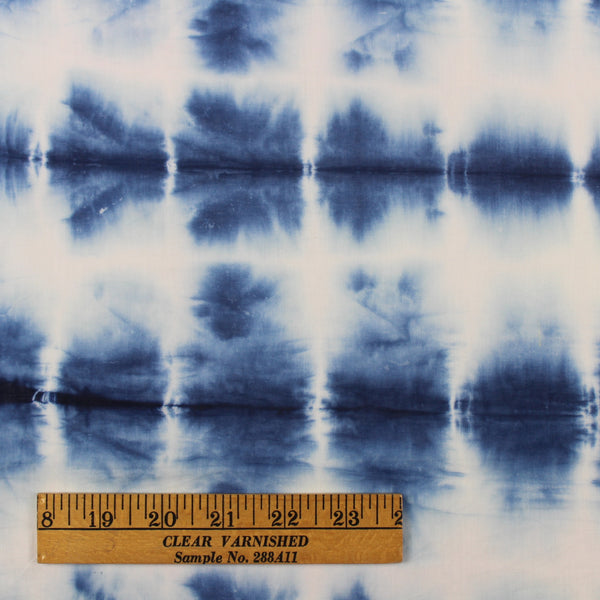Snowflakes Natural Indigo Shibori Cotton Fabric