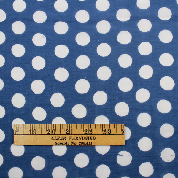 Polka Dots Hand Block Print Cotton Fabric