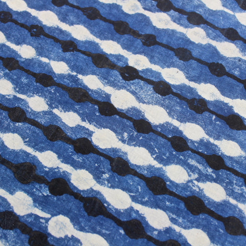 Blue Dots Indigo Block Print Cotton Fabric