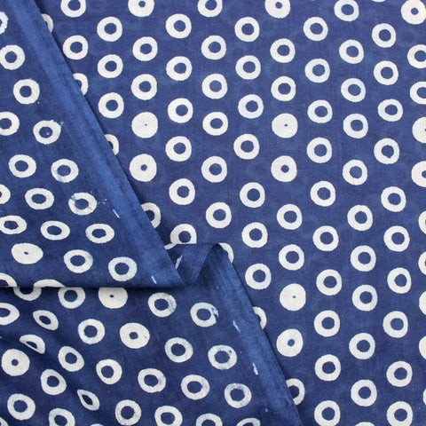 Blue Dots Hand Block Print Cotton Fabric