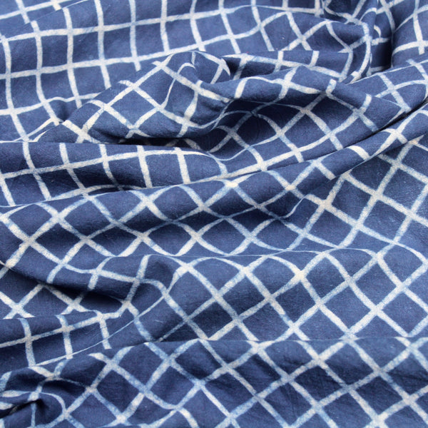 Diagonal Grid Indigo Blue Hand Block Print Fabric