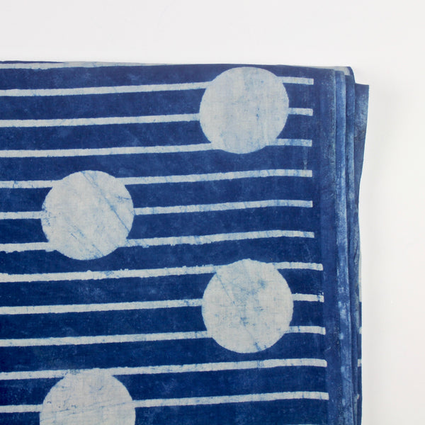 Dot and Stripe Block Print Indigo Cotton Fabric
