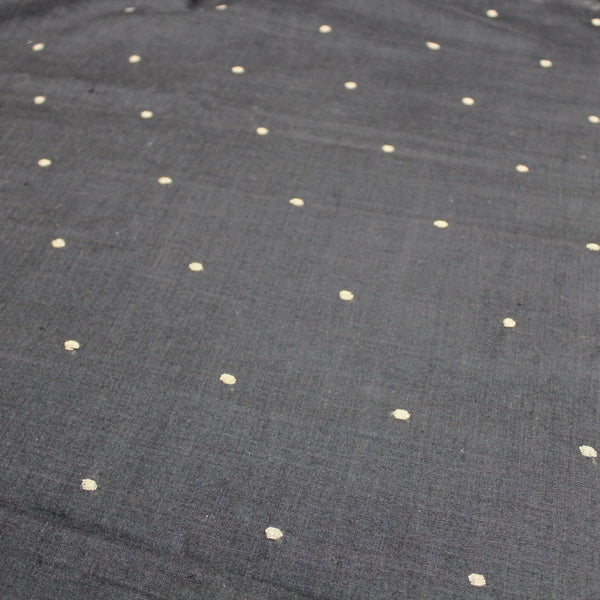 Black Dotted Handloom Jamdani Cotton Fabric