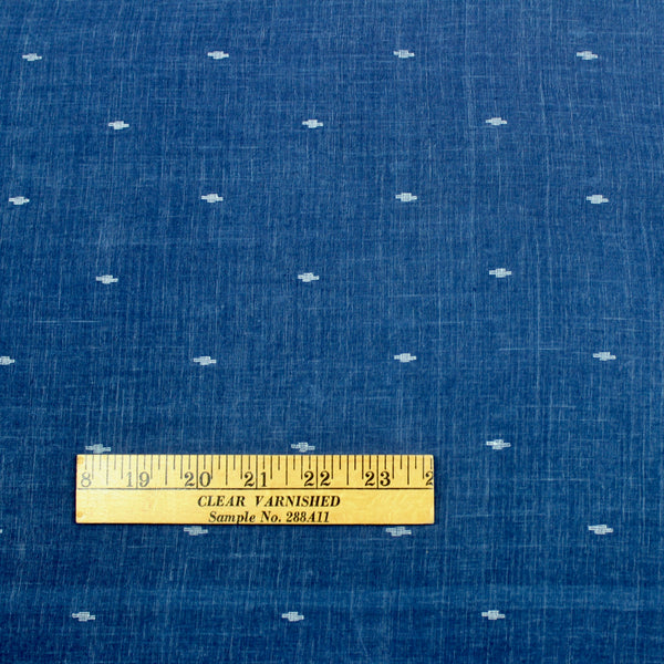 Indigo Blue Handwoven Jamdani Cotton Fabric
