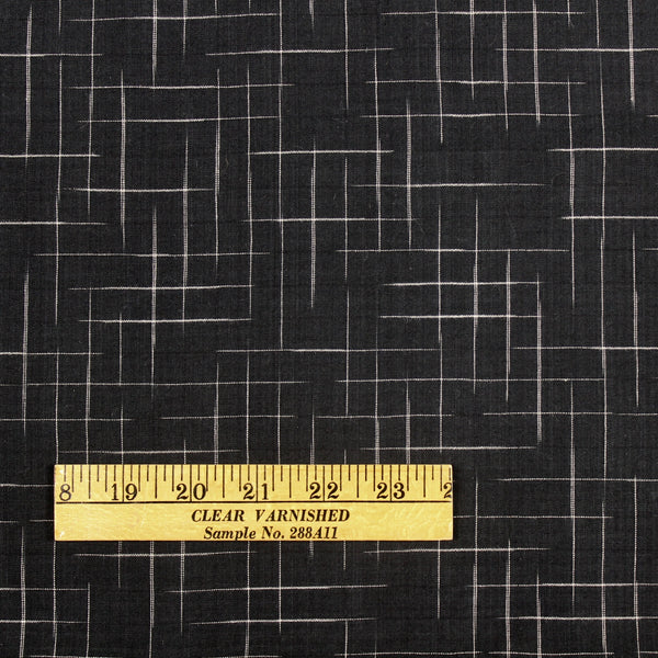 Disappearing Check Handloom Cotton Fabric Black with White