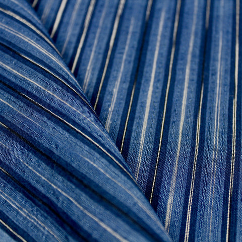 Two Blues Tie-Dye Stripe Handloom Cotton