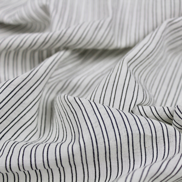 Black and White Handwoven Stripe Cotton Fabric