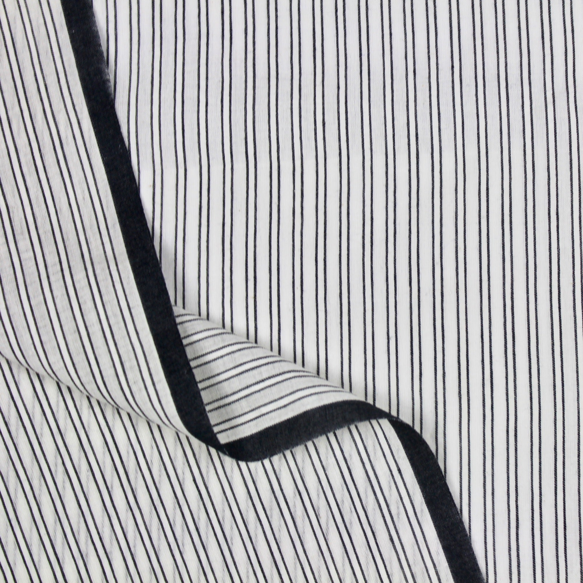 Black and White Opaque Stripe Handloom Cotton