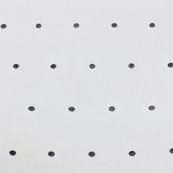 Black and White Polka Dot Handloom Cotton Jamdani Fabric