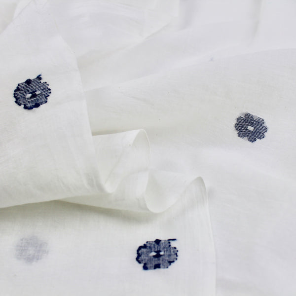 Indigo Blue Flower Jamdani Cotton Handwoven Fabric