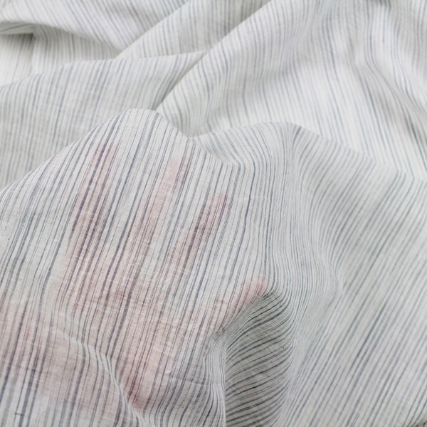 Grey Sketched Stripe Handwoven Cotton Fabric