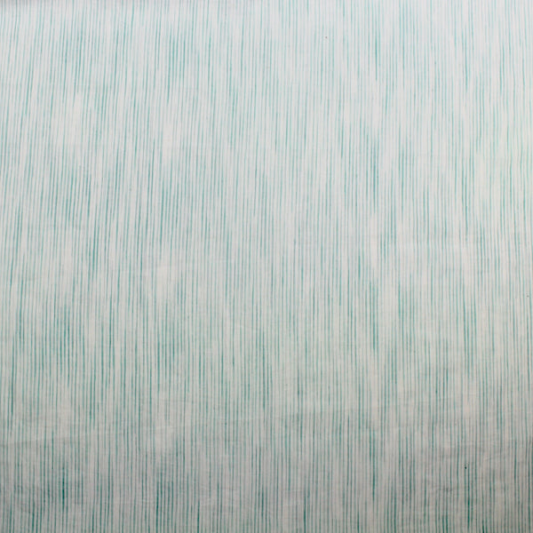 Green Sketched Stripe Handloom Cotton Fabric