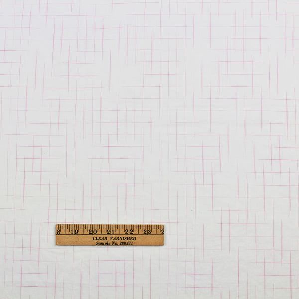 Disappearing Check Handloom Cotton - Pink on Ivory