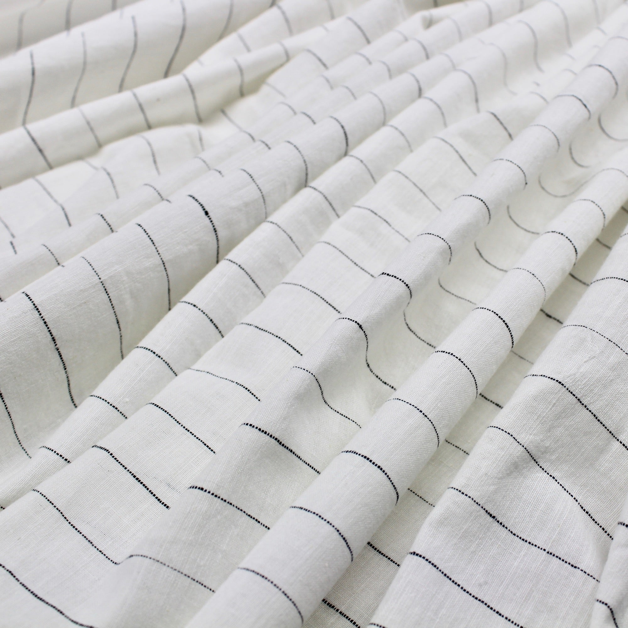 White Striped Handloom Cotton Khadi Fabric