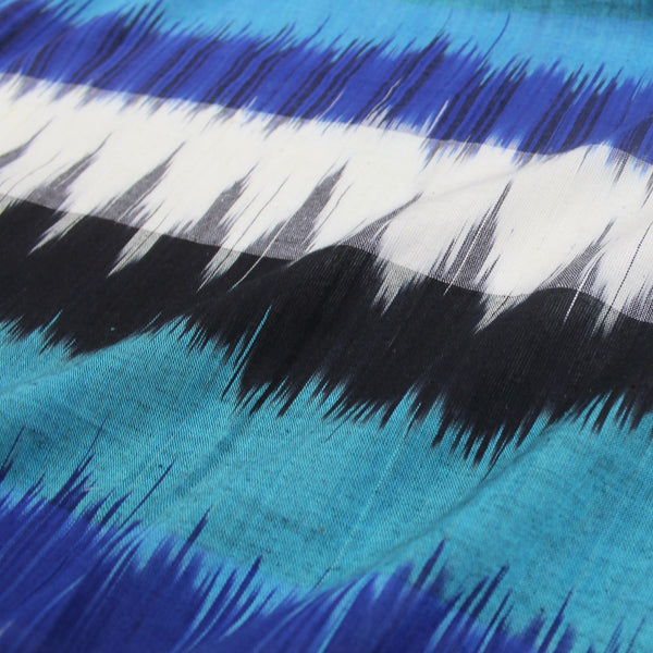 blue and turquoise cotton ikat fabric
