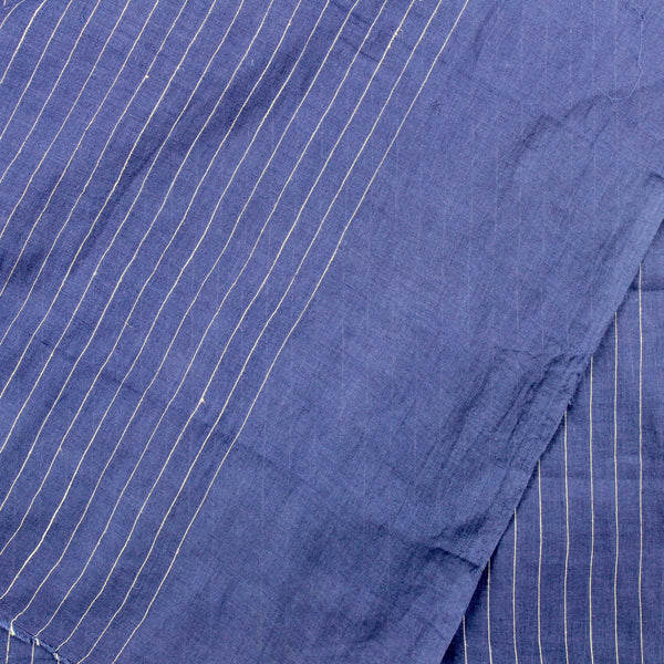 Deep Indigo Grid and Stripe Handloom Cotton
