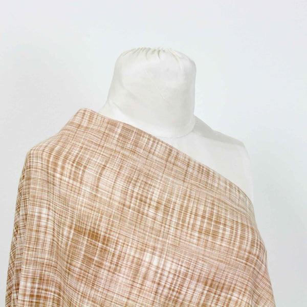 Random Checks Hand Woven Cotton Shirting Fabric Fawn