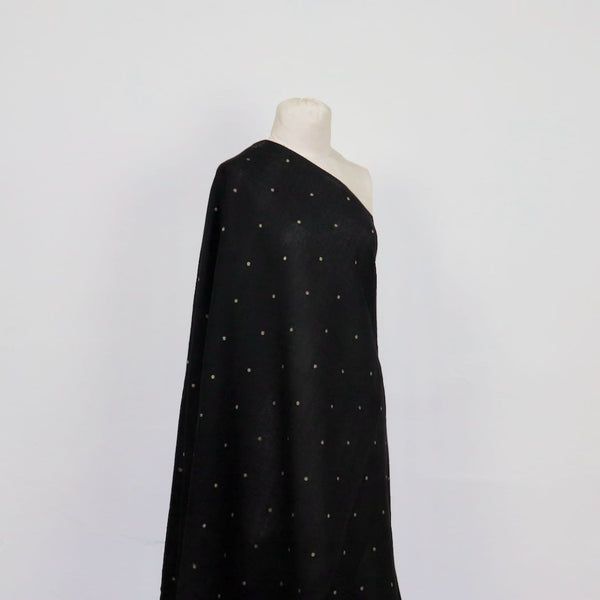 tea dots on black jamdani cotton fabric