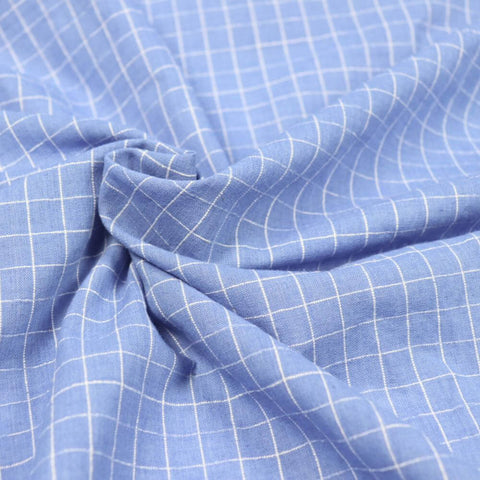 blue and white checked cotton sustainable fabric