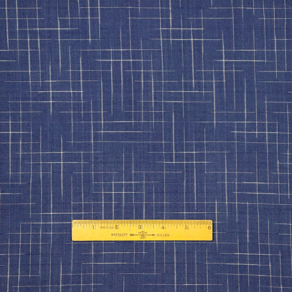 Swatch — Disappearing Check Handloom Cotton — Twilight Blue