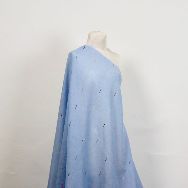 blue handwoven jamdani cotton fabric