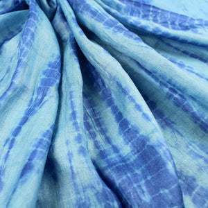 Blue Shibori Silk Tussar Fabric