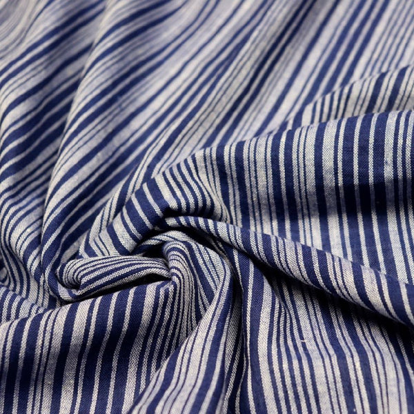 Blue and White Striped Hand Woven Cotton Fabric