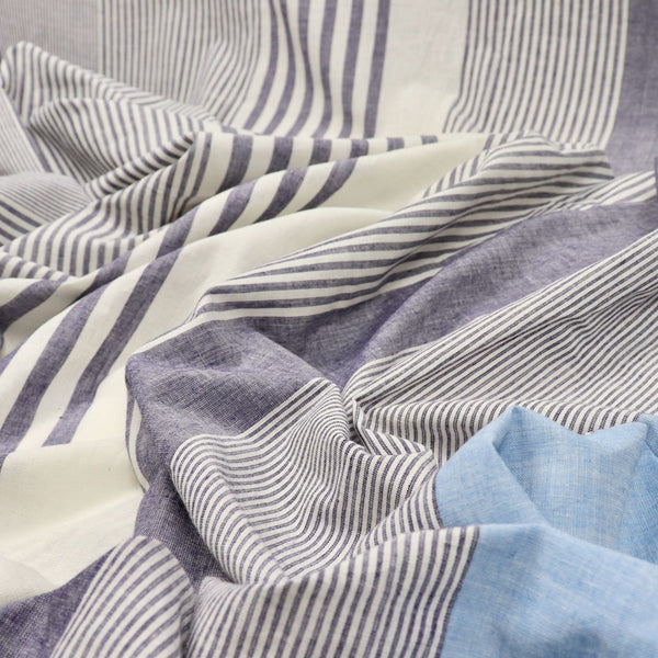 blue and white striped handwoven cotton fabric