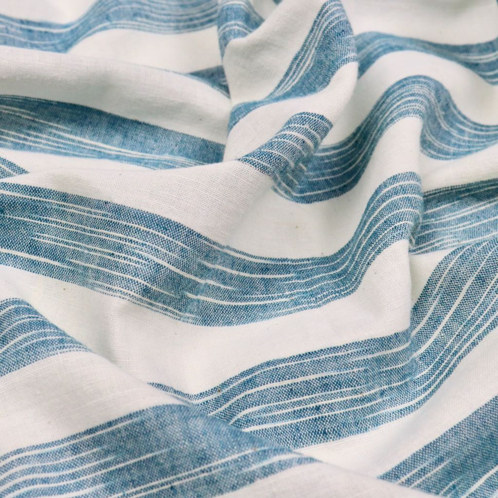 Ocean Blue Striped  Khadi Cotton Fabric