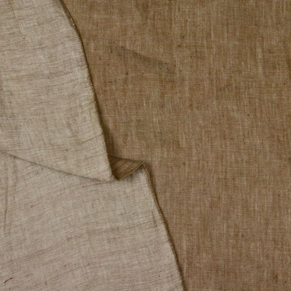 brown linen twill handwoven fabric