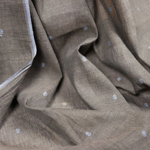blue and brown jamdani handloom cotton fabric