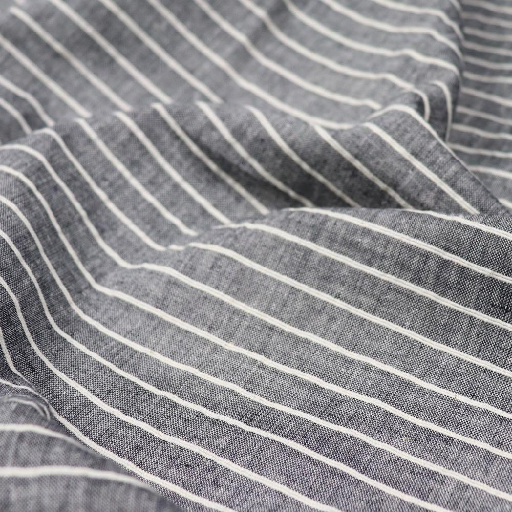 grey corded stripe handwoven cotton fabric