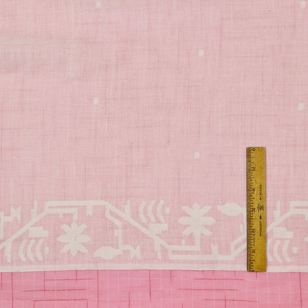 floral border handwoven jamdani cotton fabric