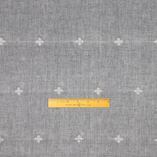 gray and white jamdani cotton fabric