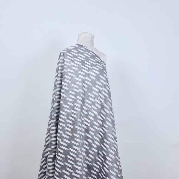 grey and white ikat fabric handwoven cotton